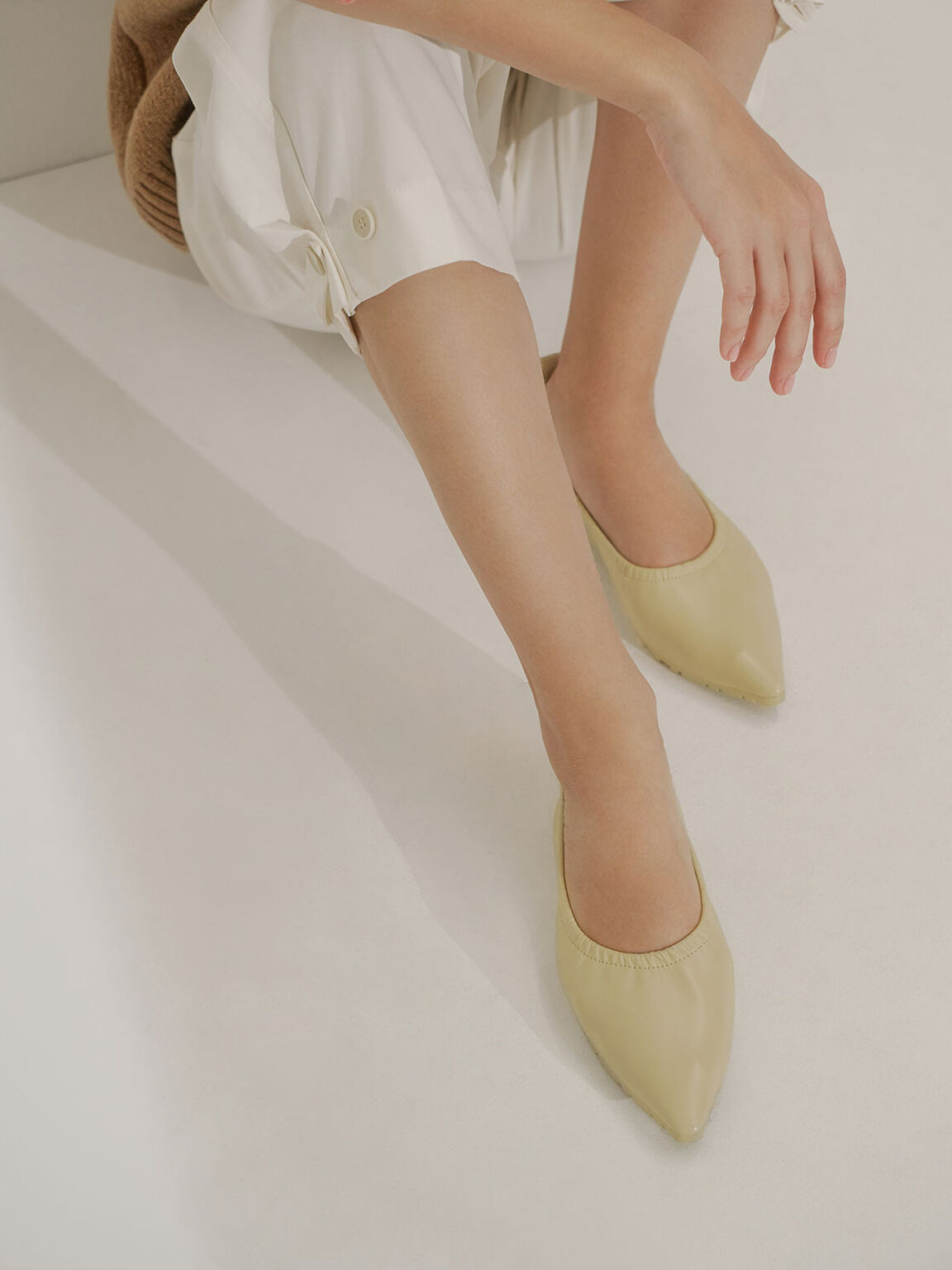 Ruched Ballerina Flats, Yellow, hi-res