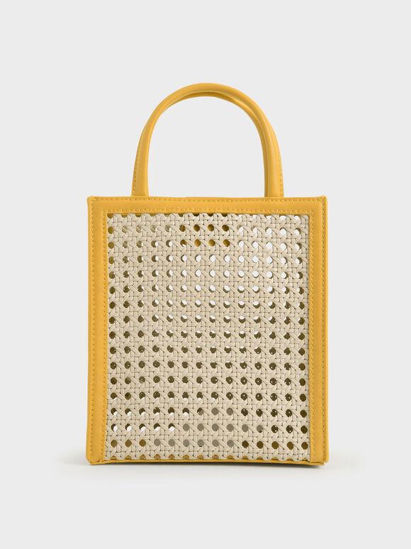 Molly Chiang Collection: Raffia Woven Tote Bag, Yellow, hi-res