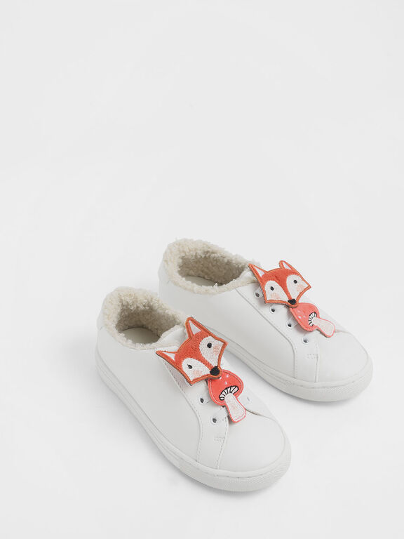 Girls' Fox Character Sneakers, White, hi-res