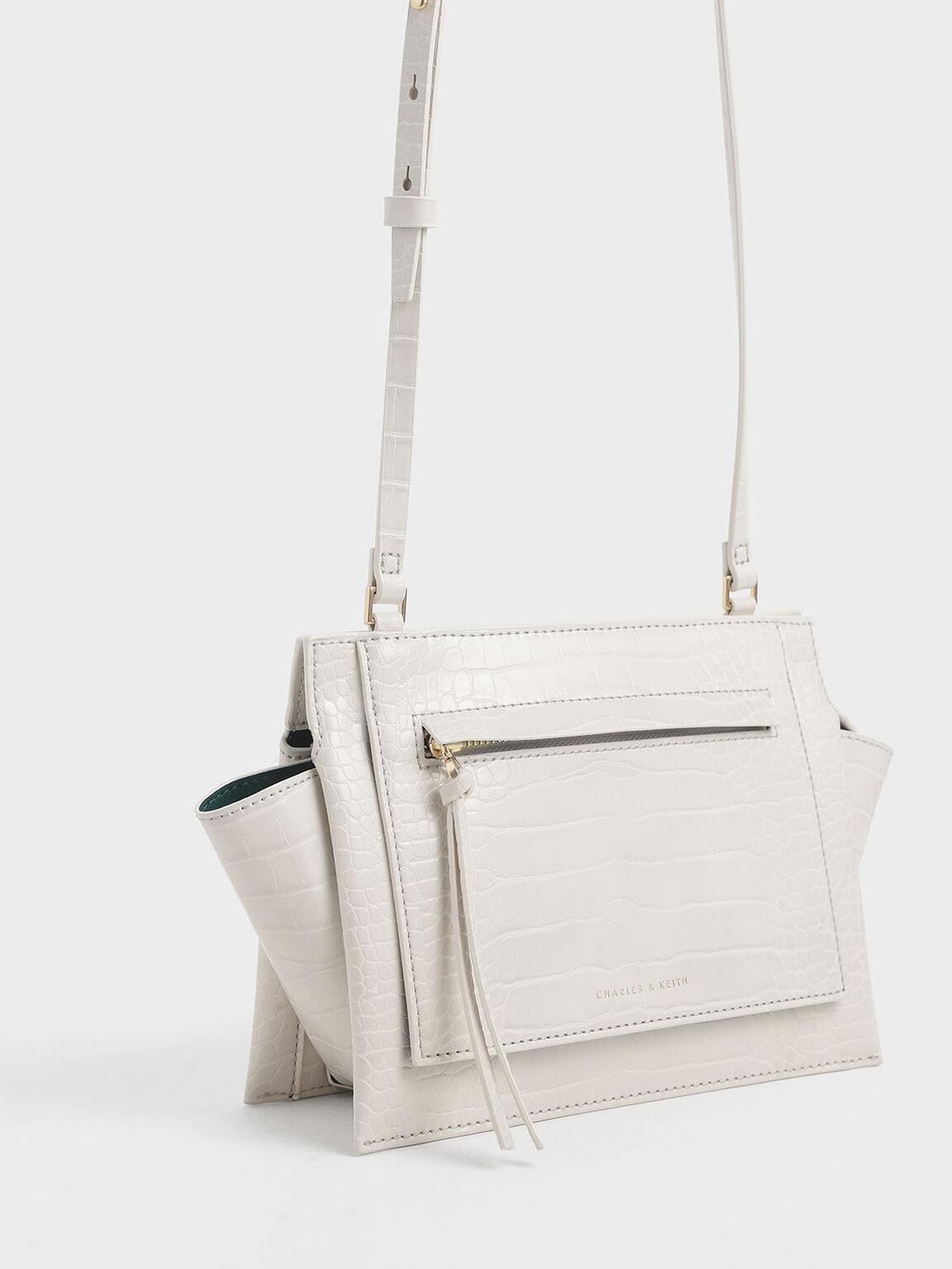 Croc-Effect Mini Trapeze Crossbody Bag, Cream, hi-res