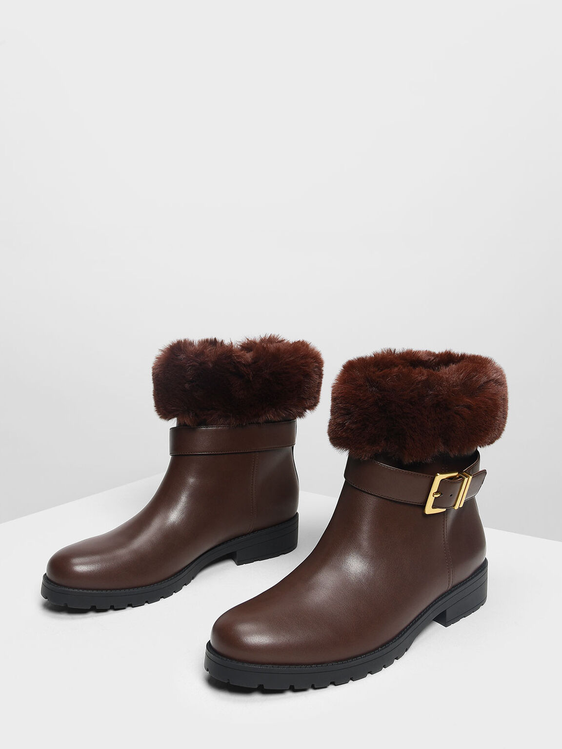 Furry Cuff Buckled Boots, Dark Brown, hi-res