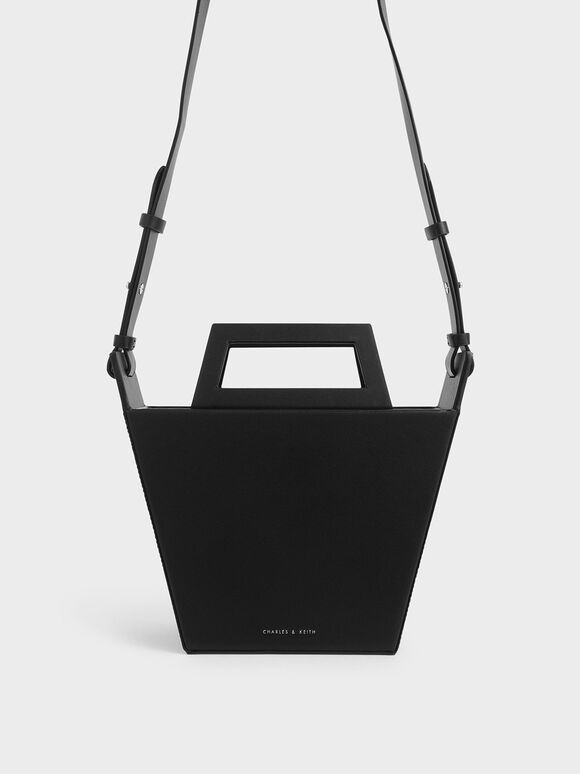 Structured Trapeze Tote, Black, hi-res