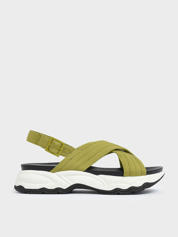 Nylon Criss Cross Chunky Platform Sandals, Green, hi-res