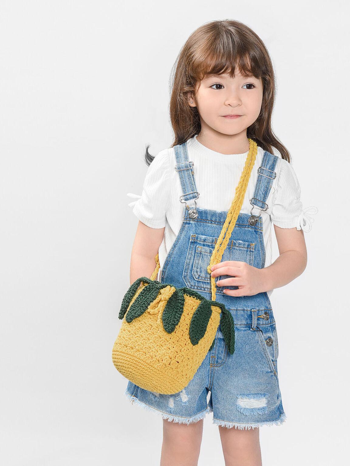 Kids Crochet Pineapple Crossbody Bag, Yellow, hi-res