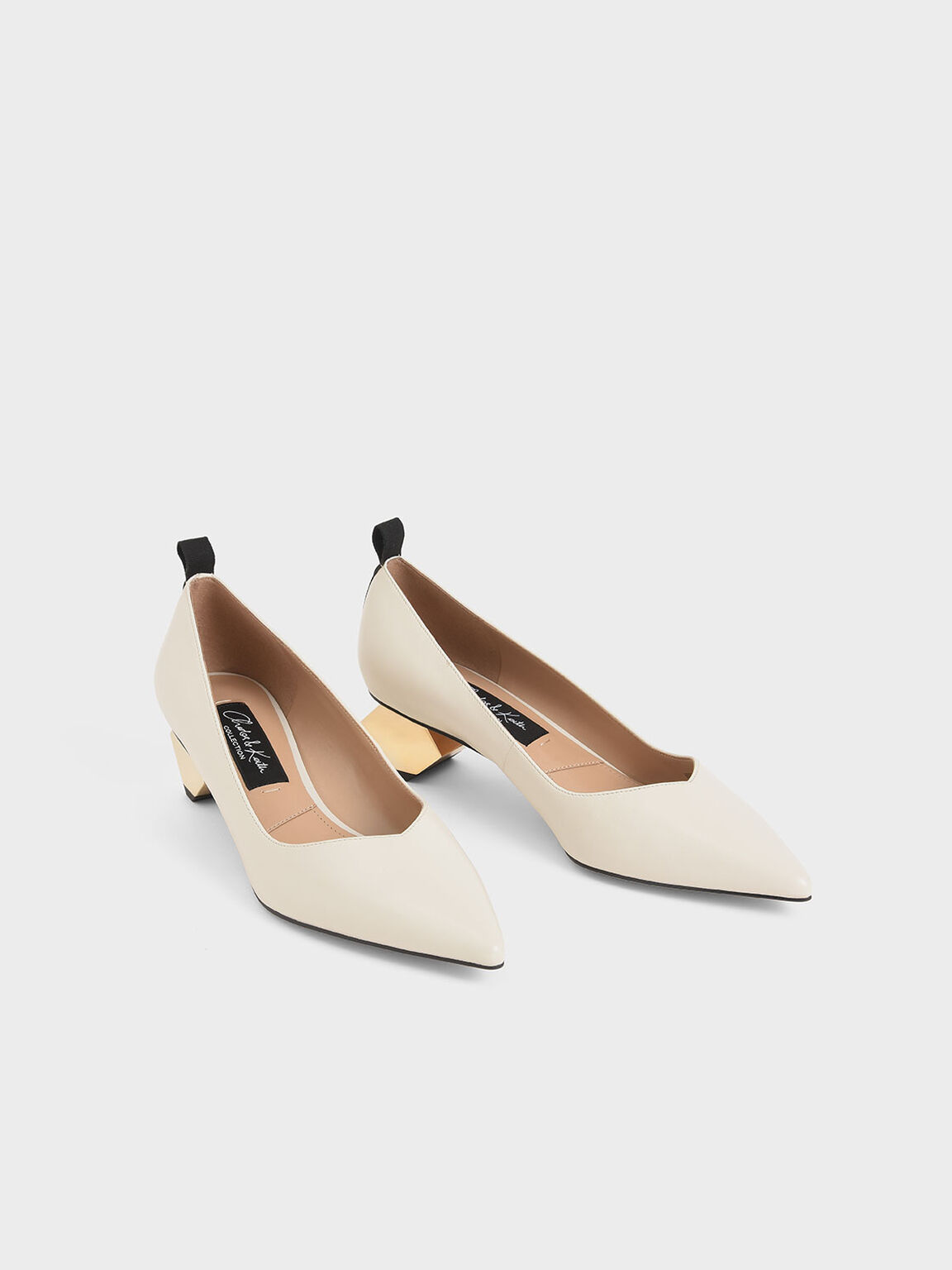 Leather Sculptural Heel Pumps, Chalk, hi-res