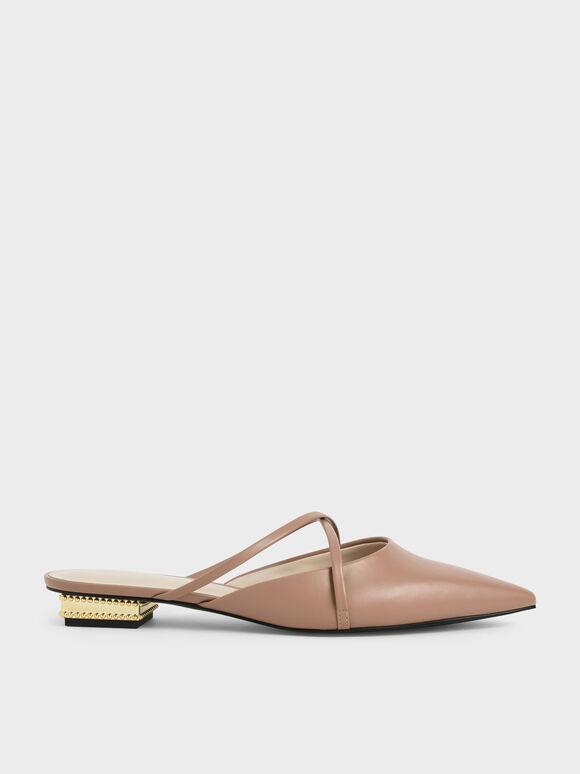 華麗低跟尖頭鞋, 駝色, hi-res
