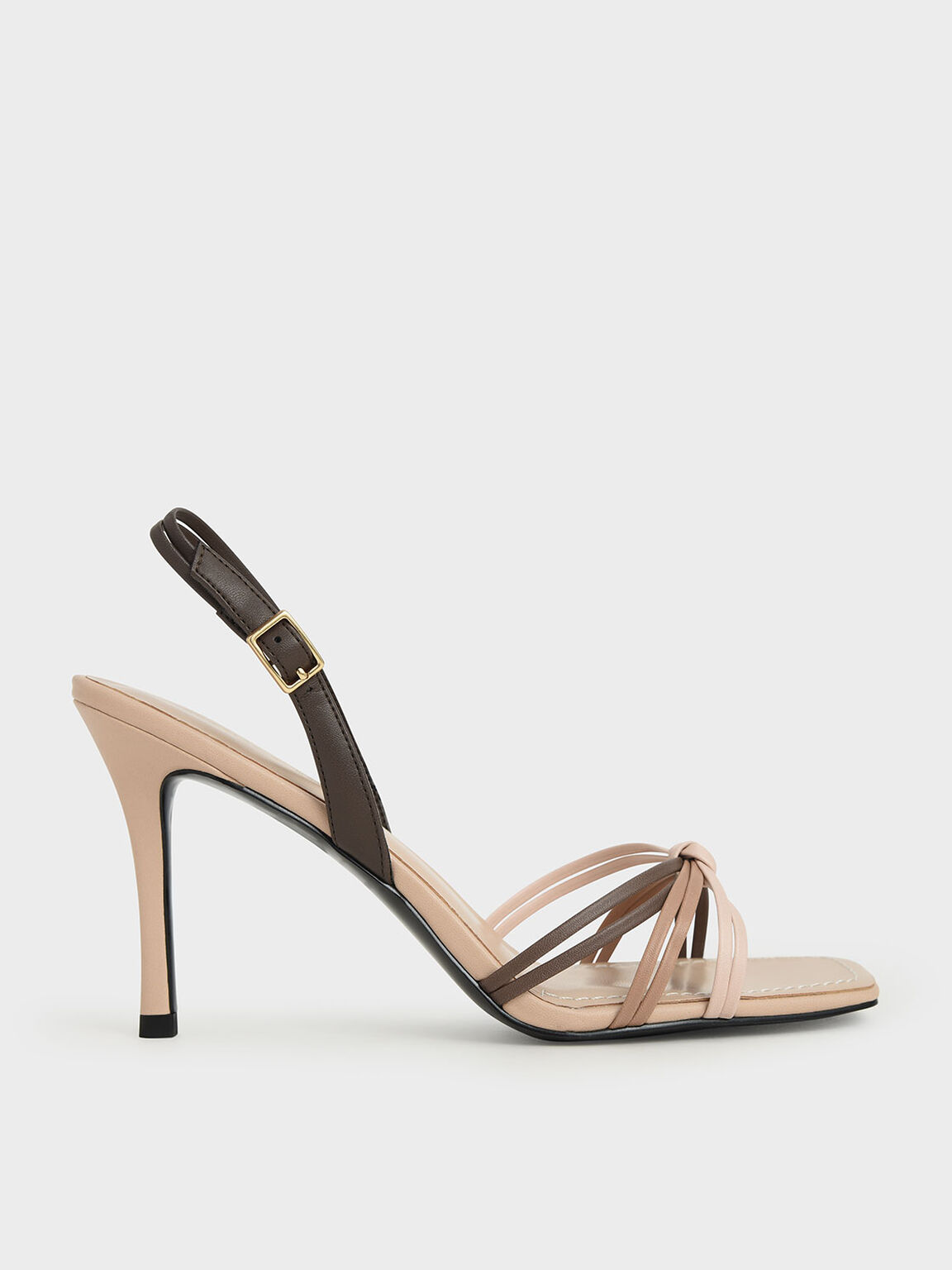 Strappy Slingback Heeled Sandals, Nude, hi-res