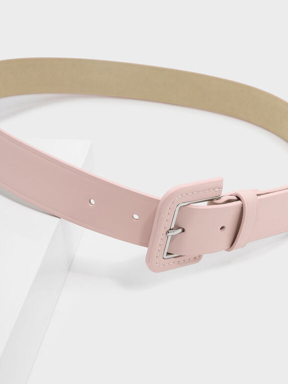 Metallic Accent Buckle Belt, Blush
