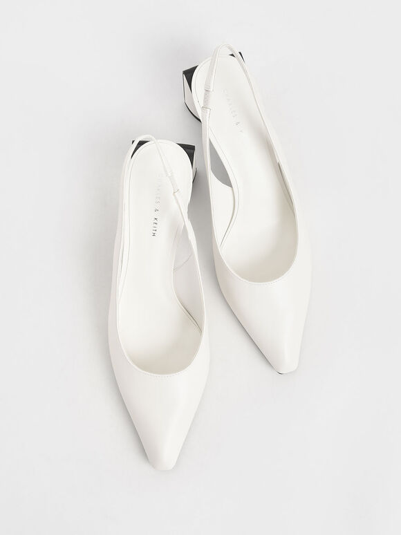 Half Moon Slingback Court Shoes, White, hi-res
