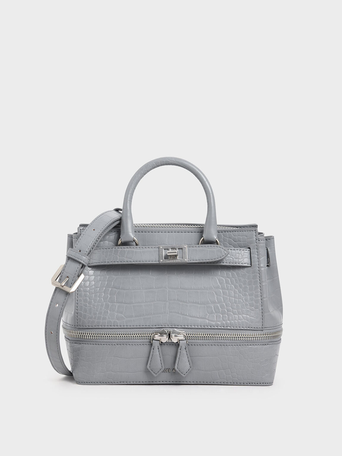 Croc-Effect Two-Way Zip Structured Bag, Grey, hi-res