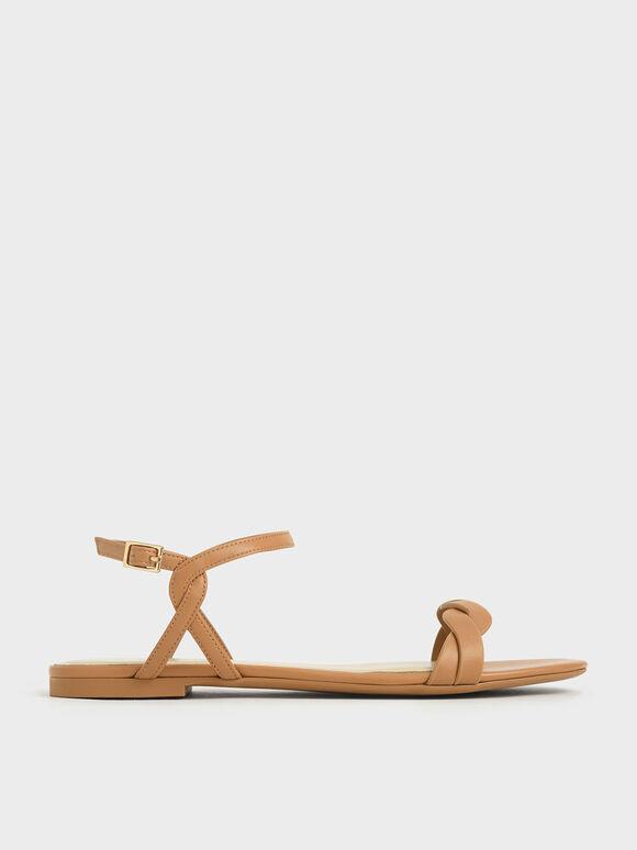 編織帶平底涼鞋, 咖啡色, hi-res