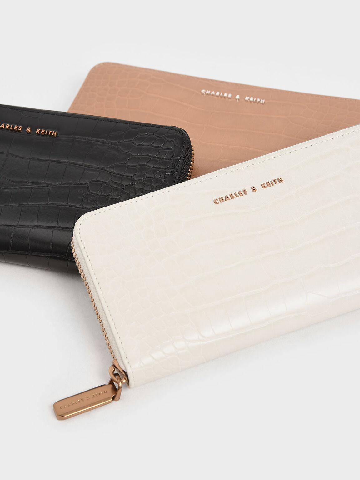 Croc-Effect Mini Long Wallet, Cream, hi-res