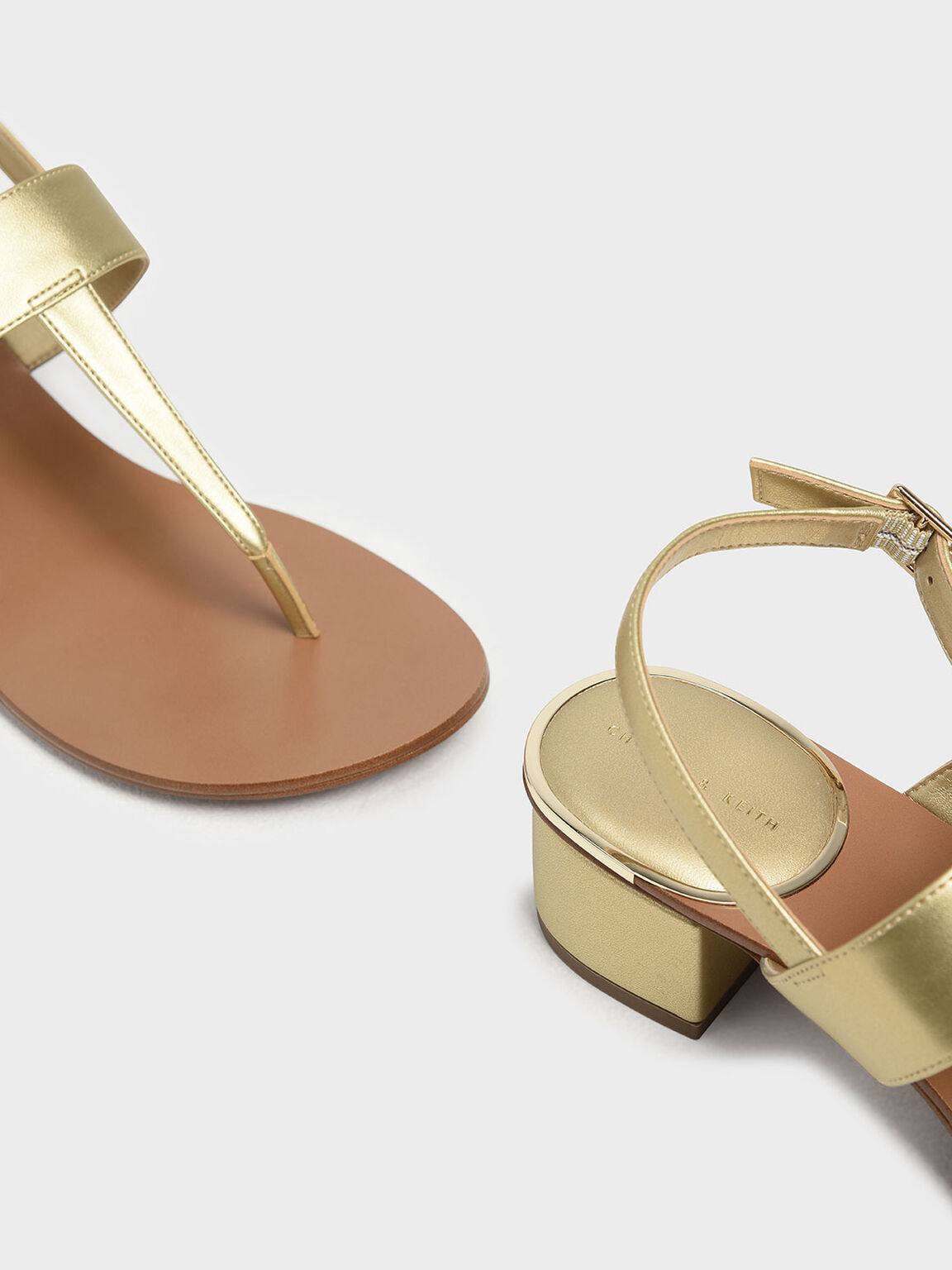 Block Heel Thong Sandals, Gold, hi-res