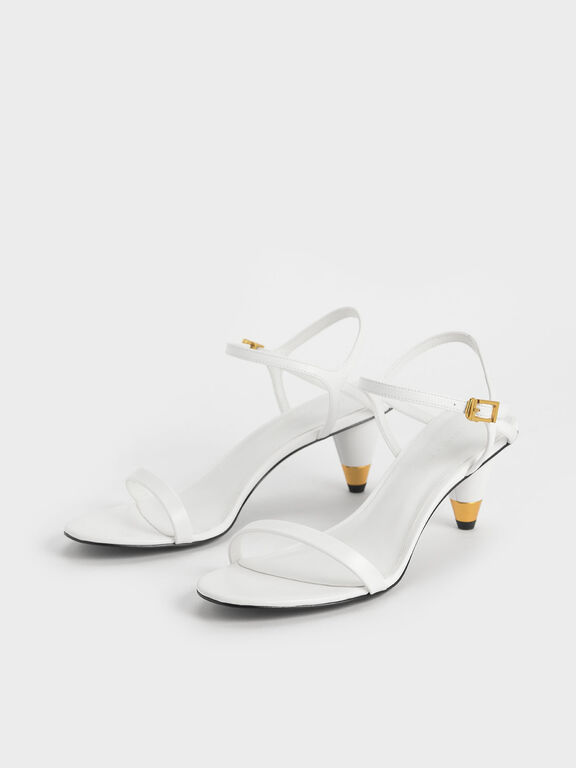 Gold Accent Cone Heel Sandals, White