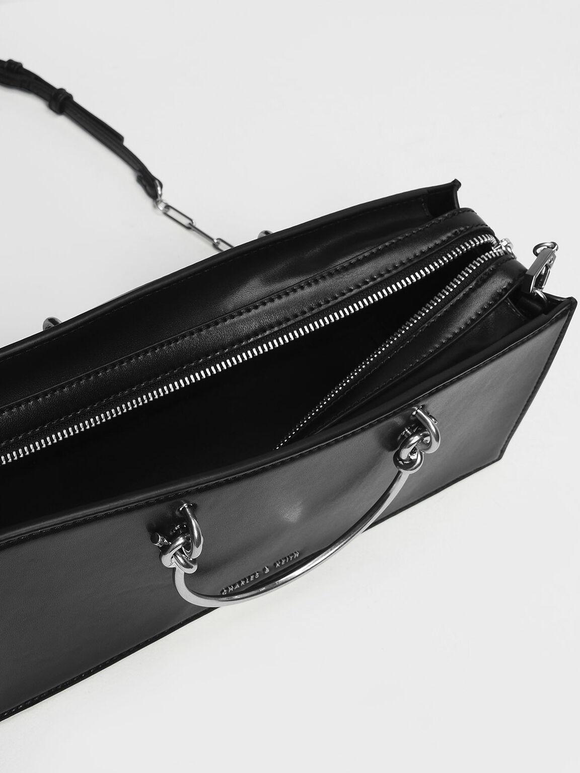 Metallic Handle Elongated Clutch, Black, hi-res