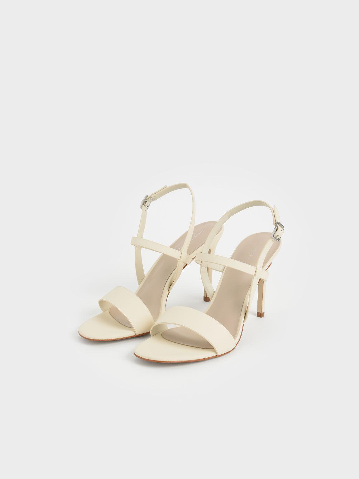 Slingback Heeled Sandals, Chalk, hi-res