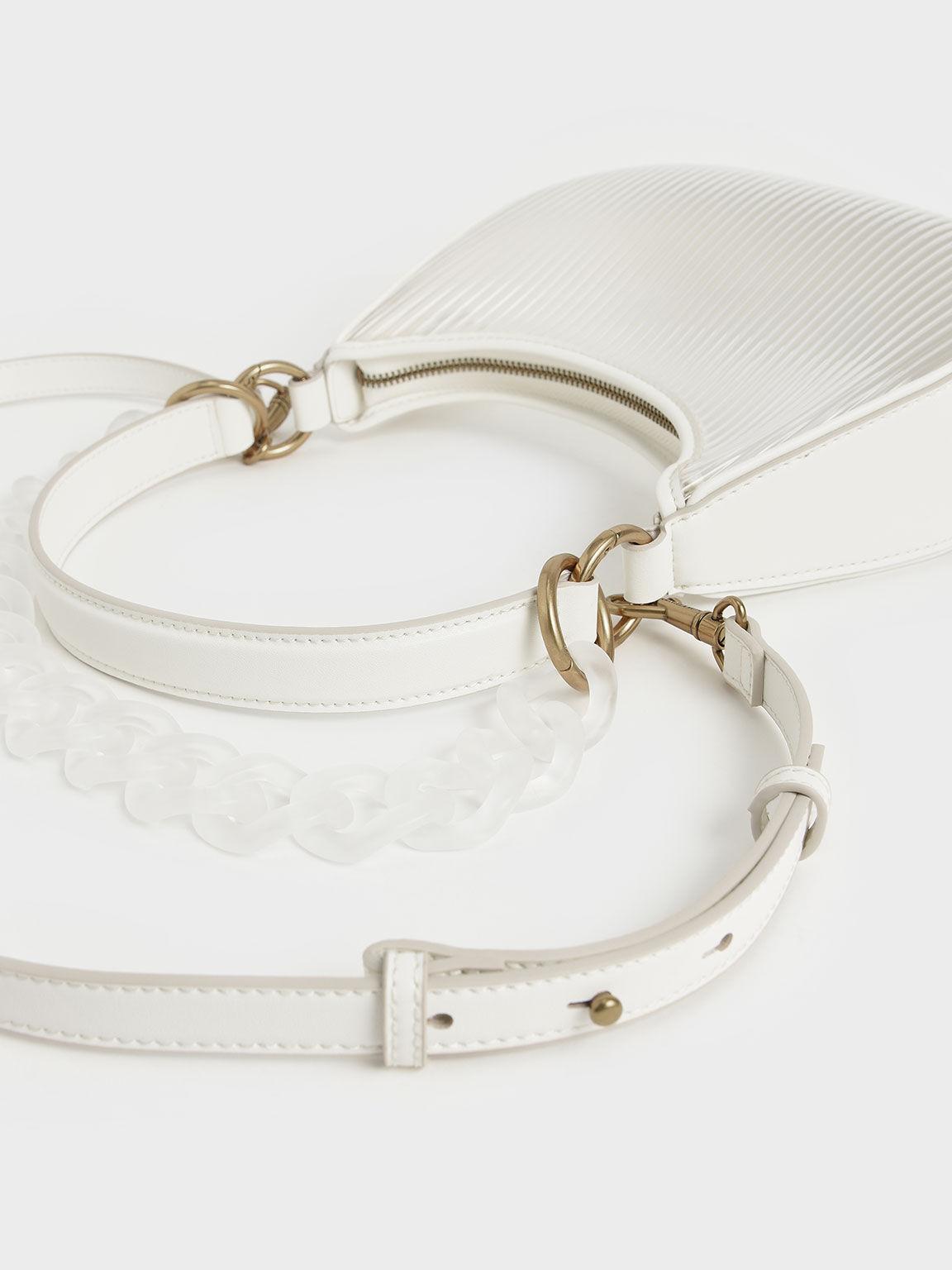 Acrylic Chain Handle Hobo Bag, White, hi-res