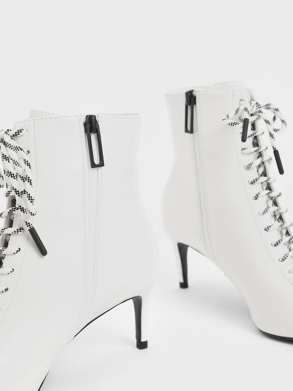 Nylon Lace-Up Ankle Boots, White