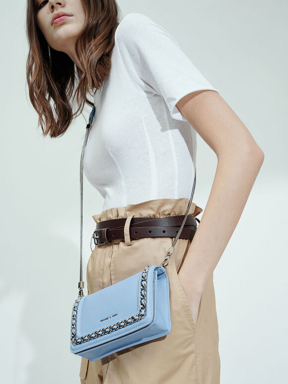 Chain-Trimmed Clutch, Denim Blue, hi-res