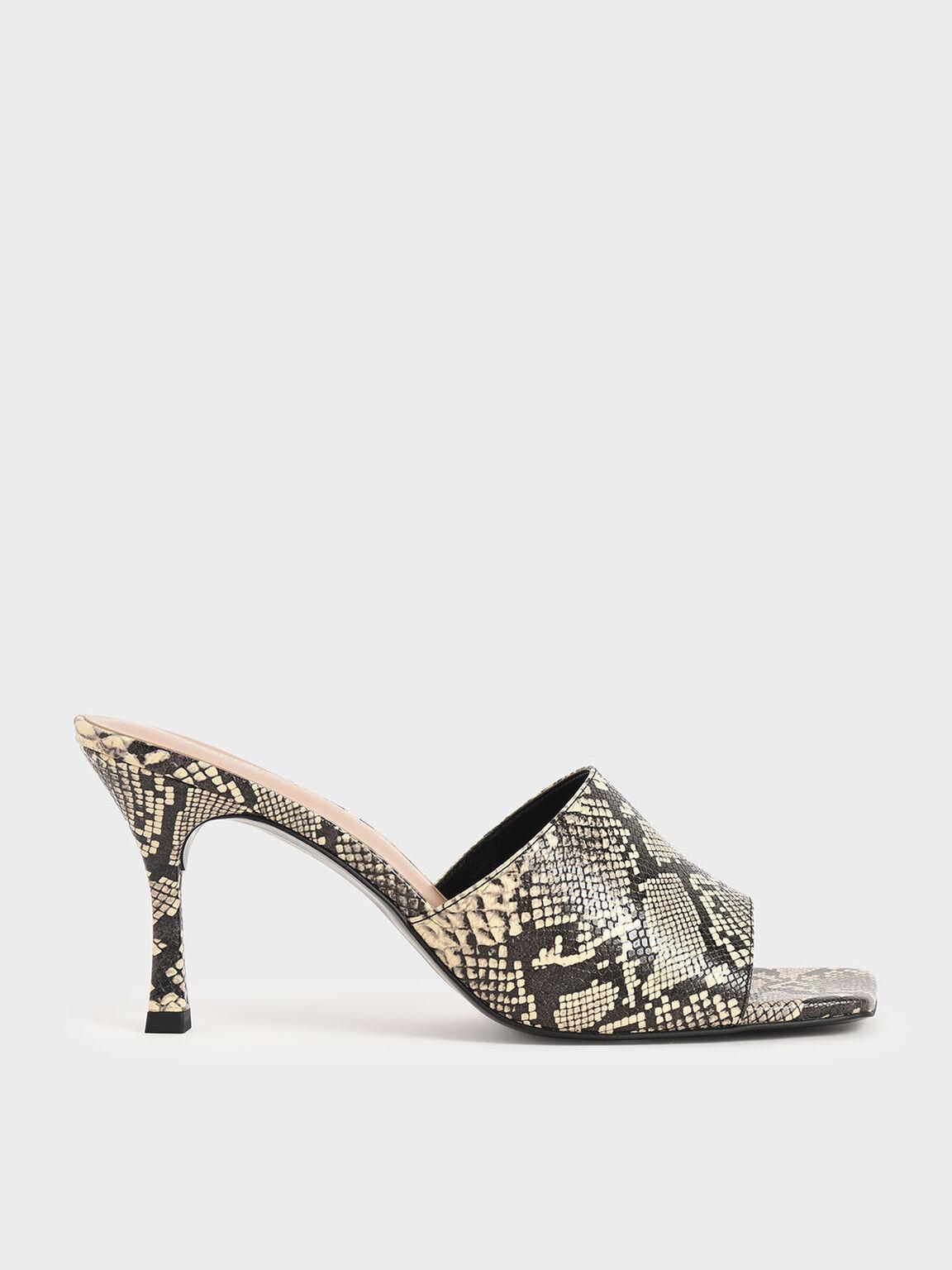 蛇紋高跟拖鞋, 混色, hi-res
