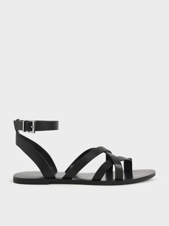 Toe Ring Strappy Sandals, Black, hi-res