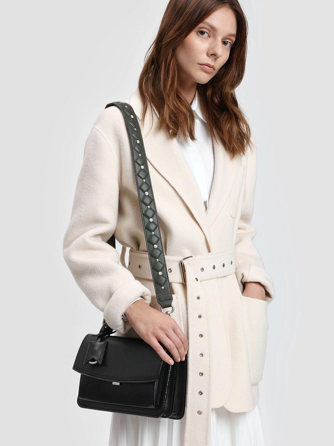 Embellished Quilted Bag Strap, Olive, hi-res