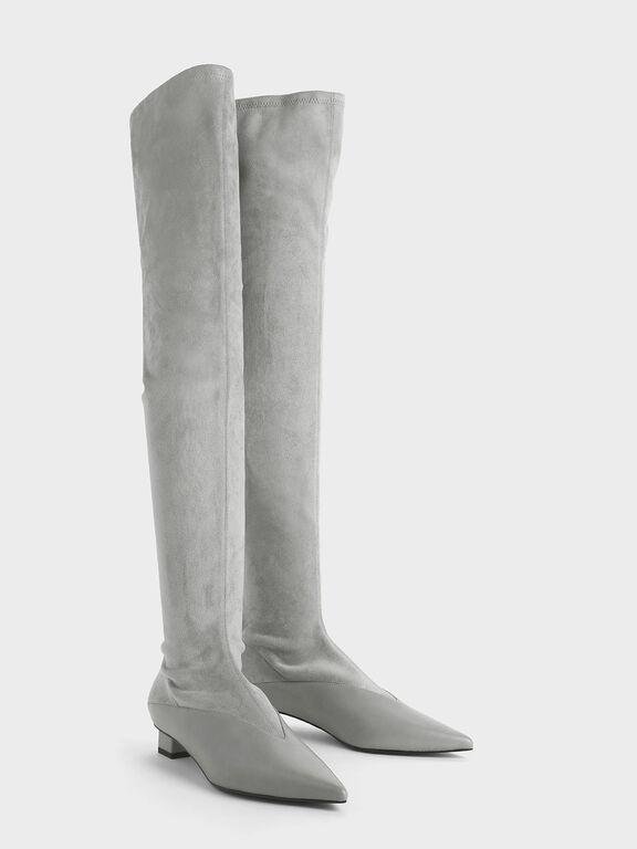 Thigh High Low Block Heel Sock Boots, Grey