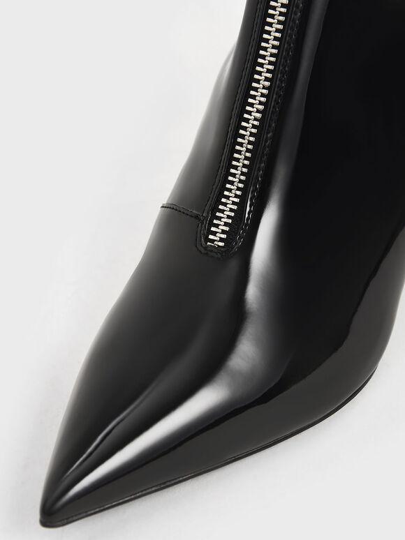 Patent Front Zip Ankle Boots, Black, hi-res