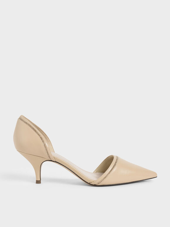 Embellished D'Orsay Pumps, Beige, hi-res