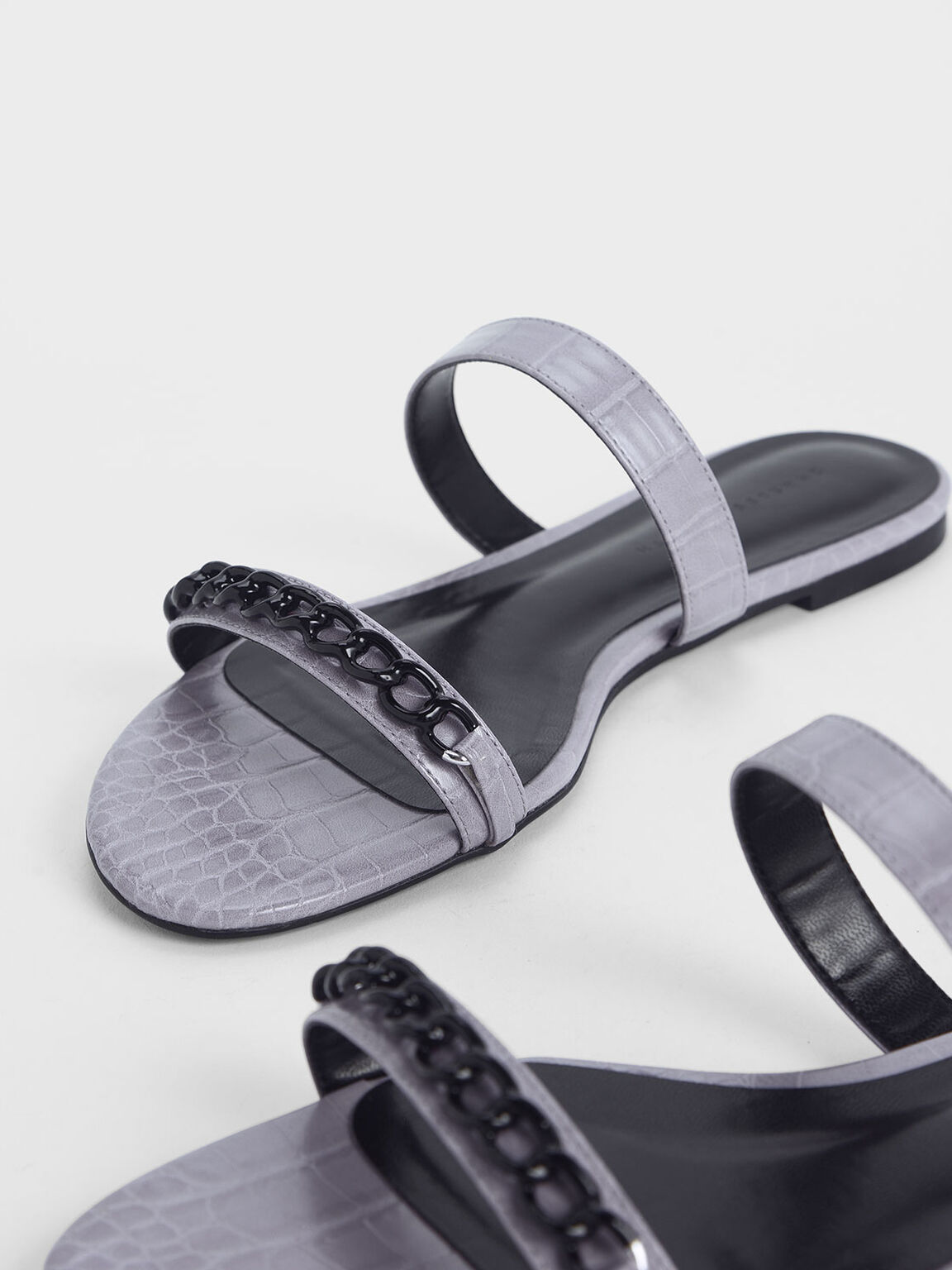 Croc-Effect Chain Detail Double Strap Slide Sandals, Lilac, hi-res