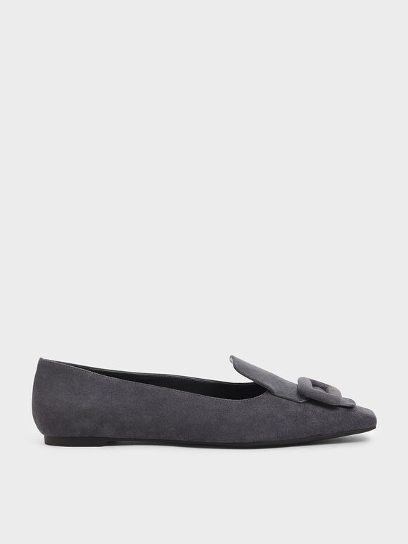 Oversized Buckle Textured Loafers, Dark Grey, hi-res