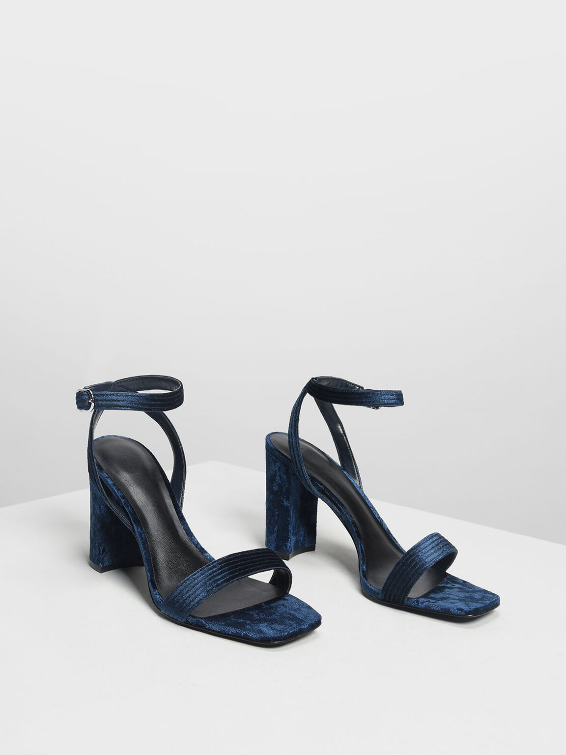 Textured Classic Ankle Strap Heeled Sandals, Dark Blue, hi-res