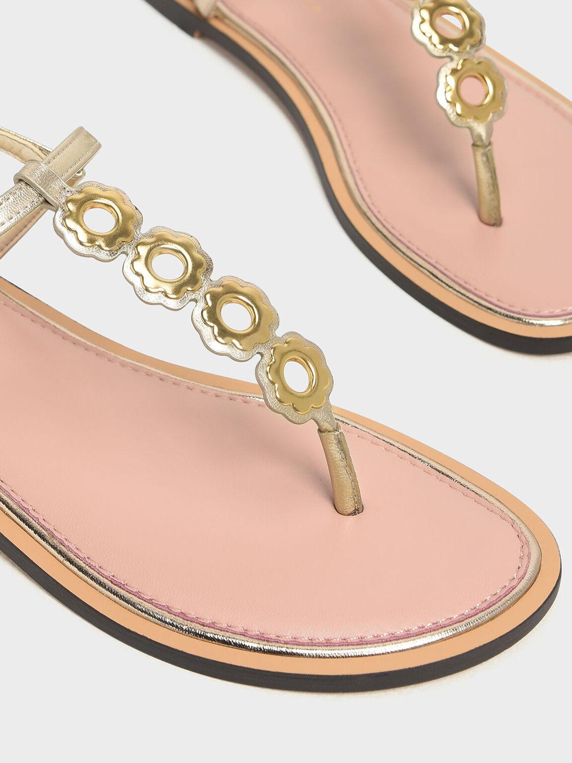 T-Bar Eyelet Sandals, Gold, hi-res