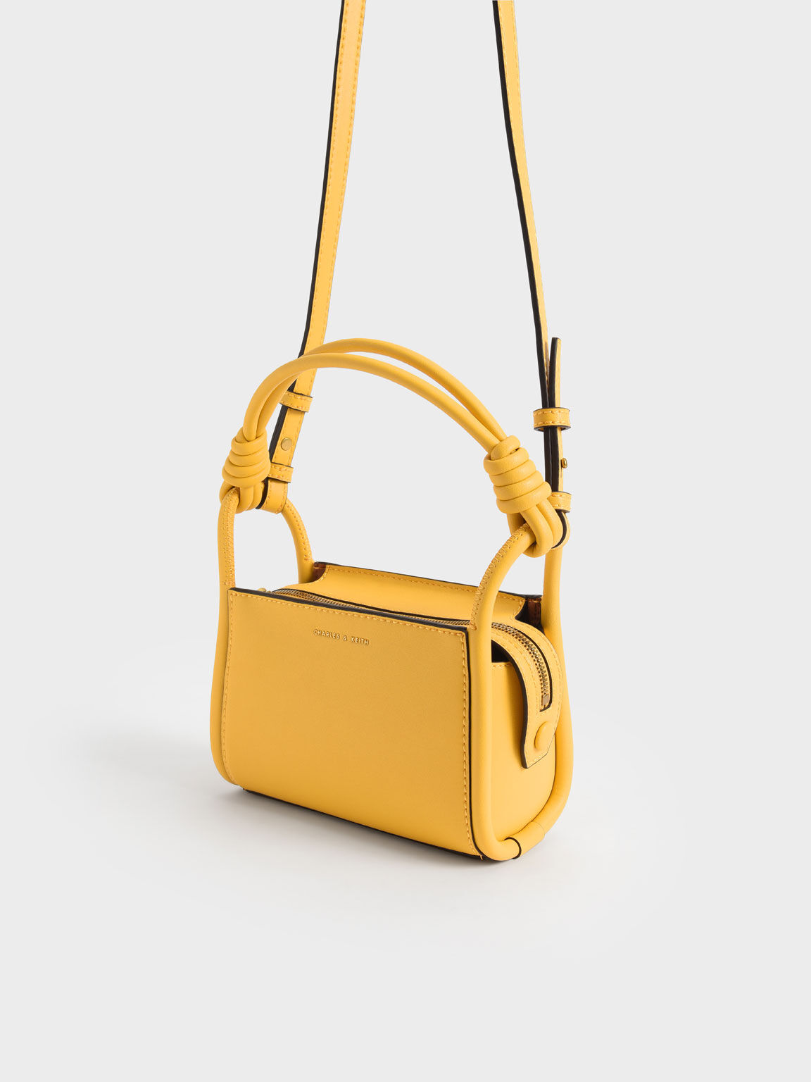 Knotted Handle Boxy Bag, Yellow, hi-res