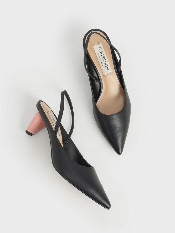 真皮後踝帶跟鞋, 黑色, hi-res