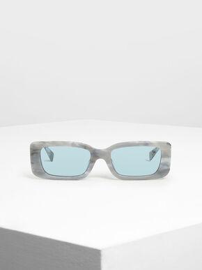 Thick Frame Rectangle Sunglasses, White