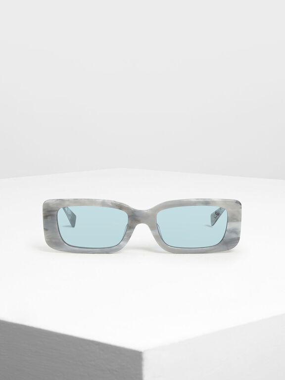Thick Frame Rectangle Sunglasses, White