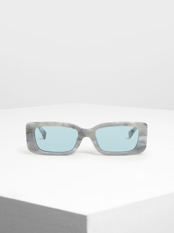 Thick Frame Rectangle Sunglasses, White, hi-res