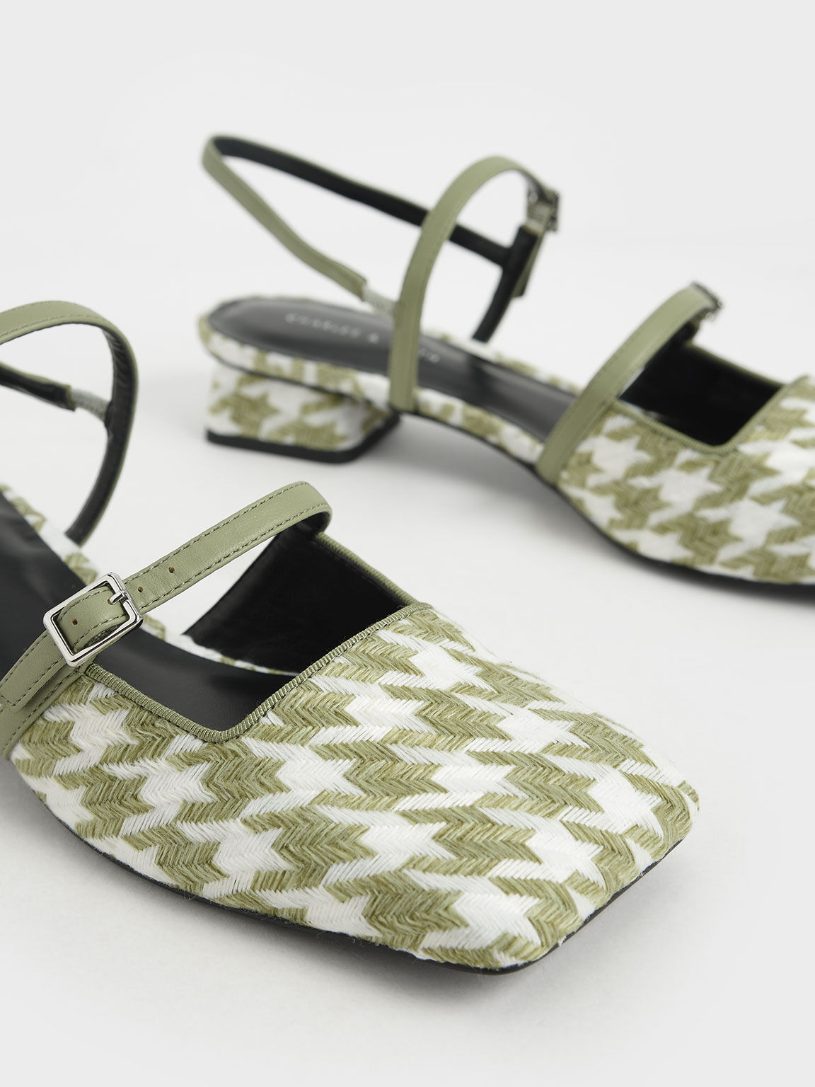 Houndstooth Square Toe Mary Janes, Green, hi-res