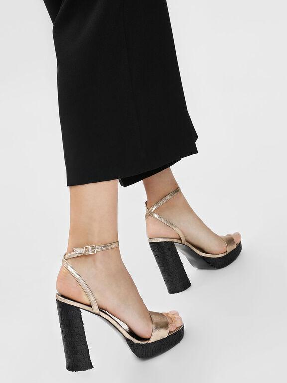 Sequin Heeled Sandals, Gold, hi-res