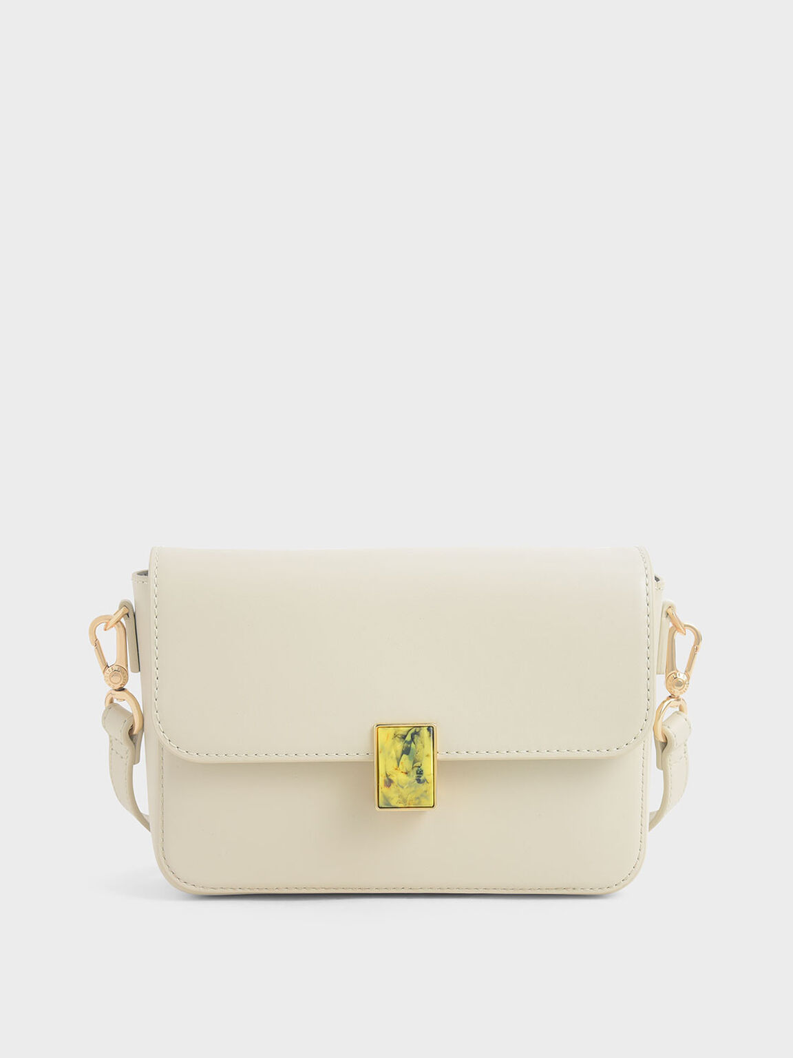 Leather Embellished Push-Lock Crossbody Bag, Chalk, hi-res
