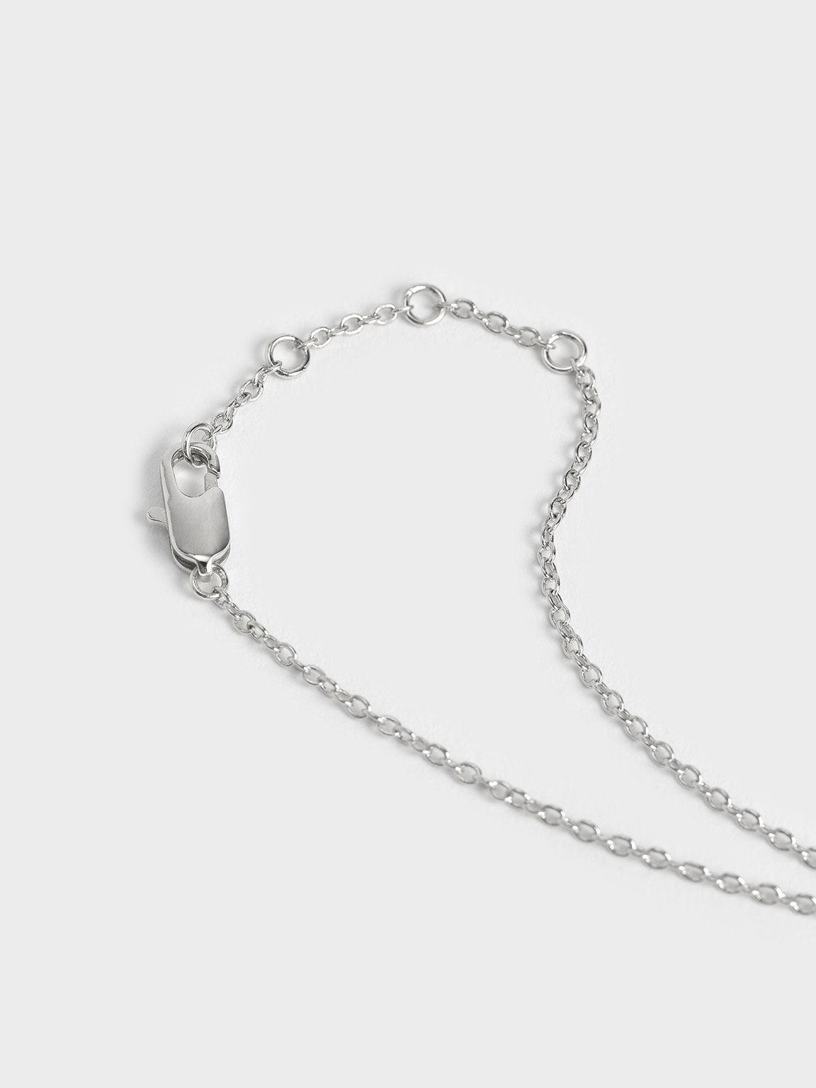 Leaf Bead Bracelet, Silver, hi-res