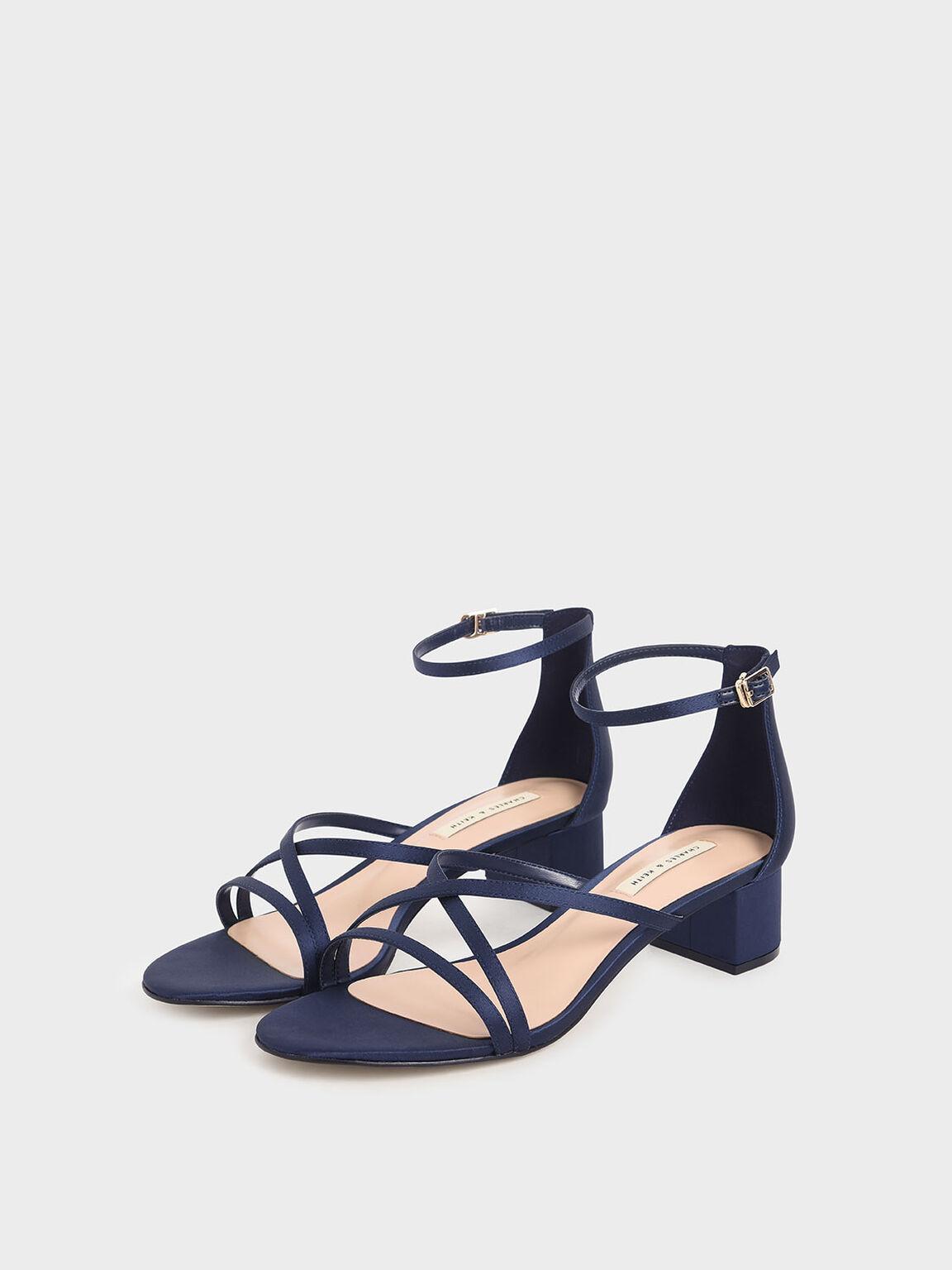 Satin Strappy Heeled Sandals, Dark Blue, hi-res