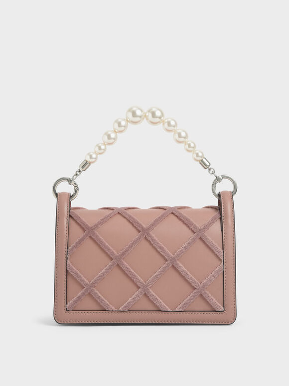 Beaded Handle Shoulder Bag, Blush, hi-res