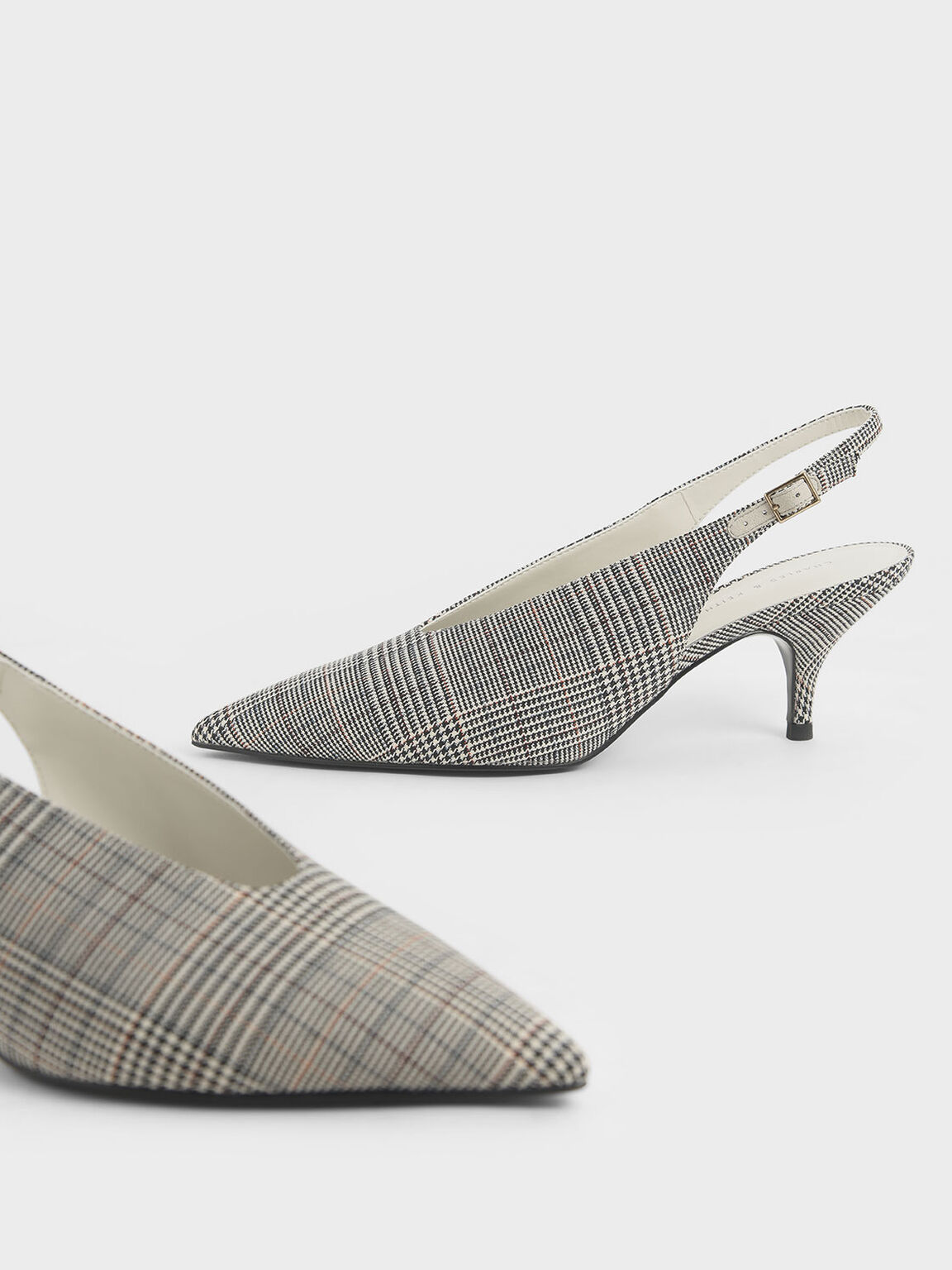 Check-Print Pointed Toe Slingback Pumps, Light Grey, hi-res
