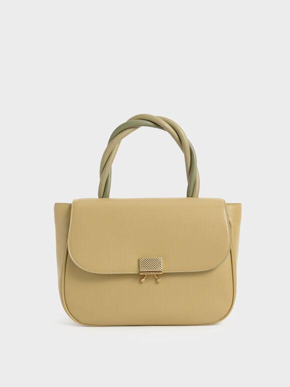 Twist Top Handle Bag, Sand, hi-res