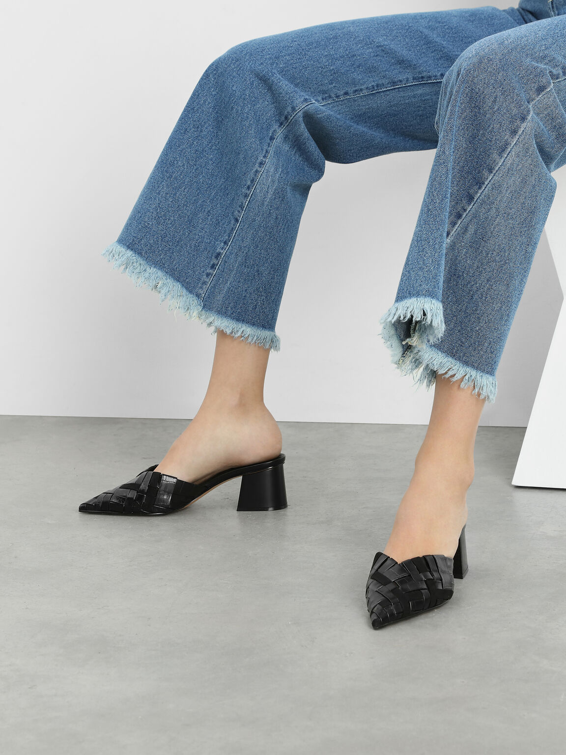Woven Pointed Mules, Black, hi-res