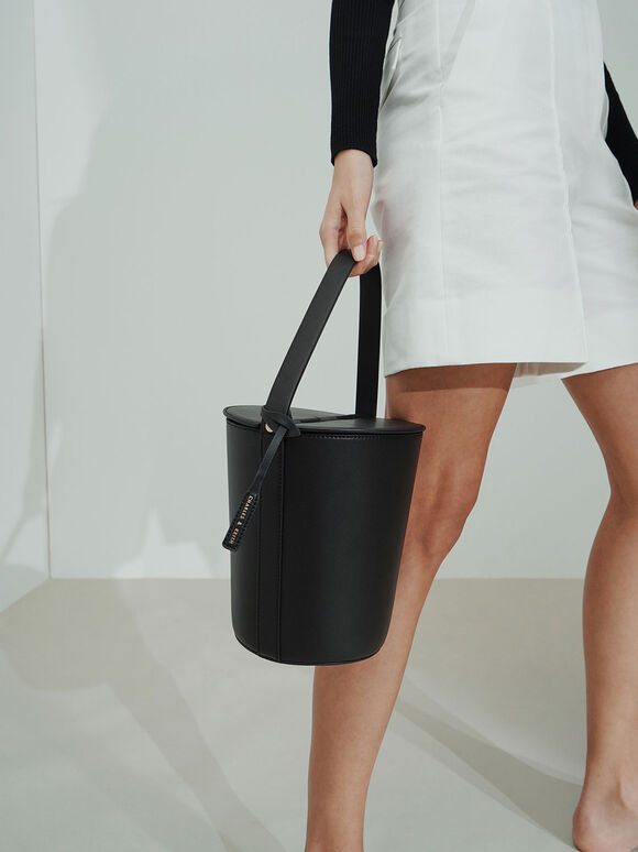 Cylindrical Top Handle Bag, Black, hi-res