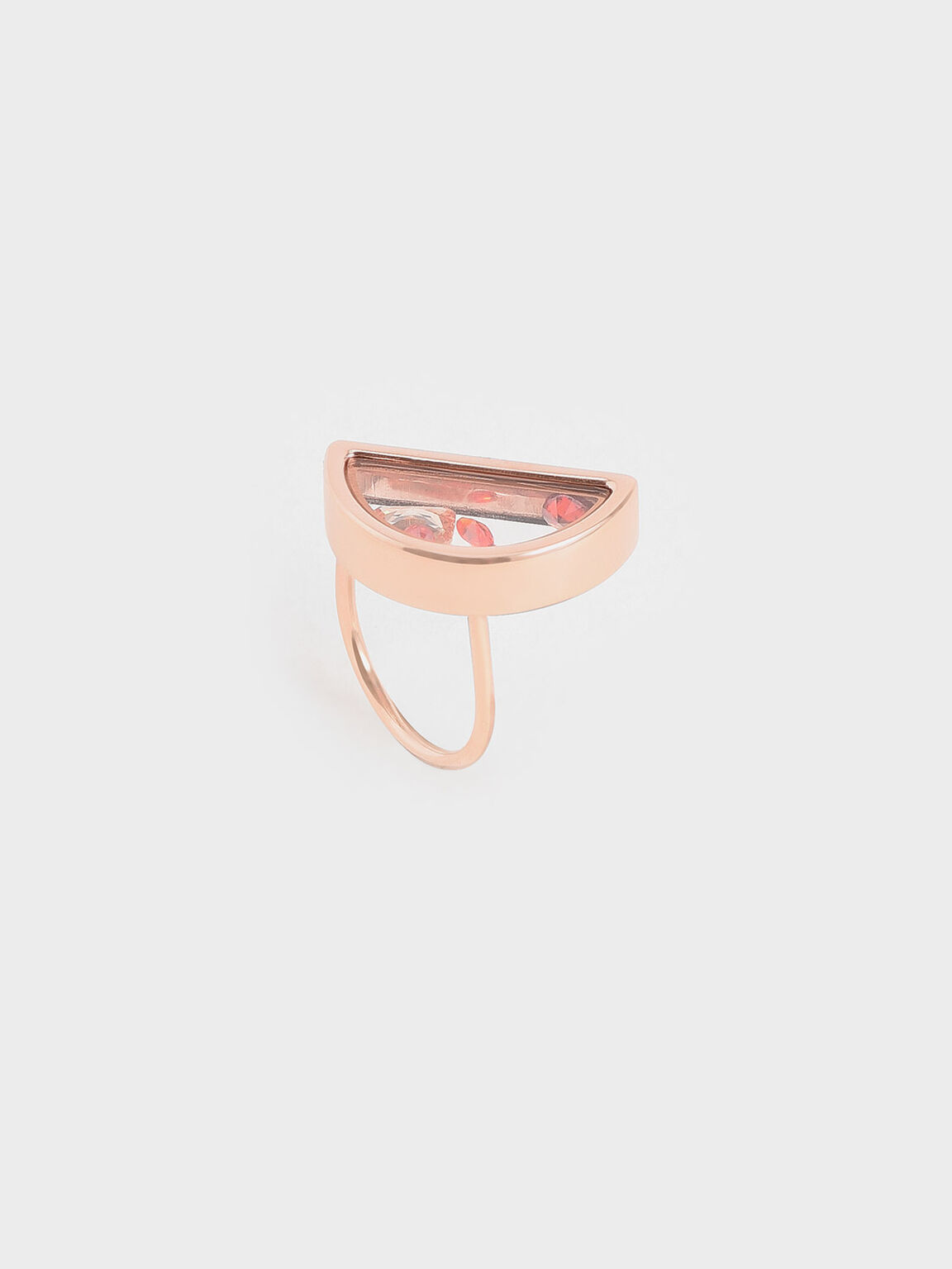 Semi-Circle Floating Locket Ring, Rose Gold, hi-res