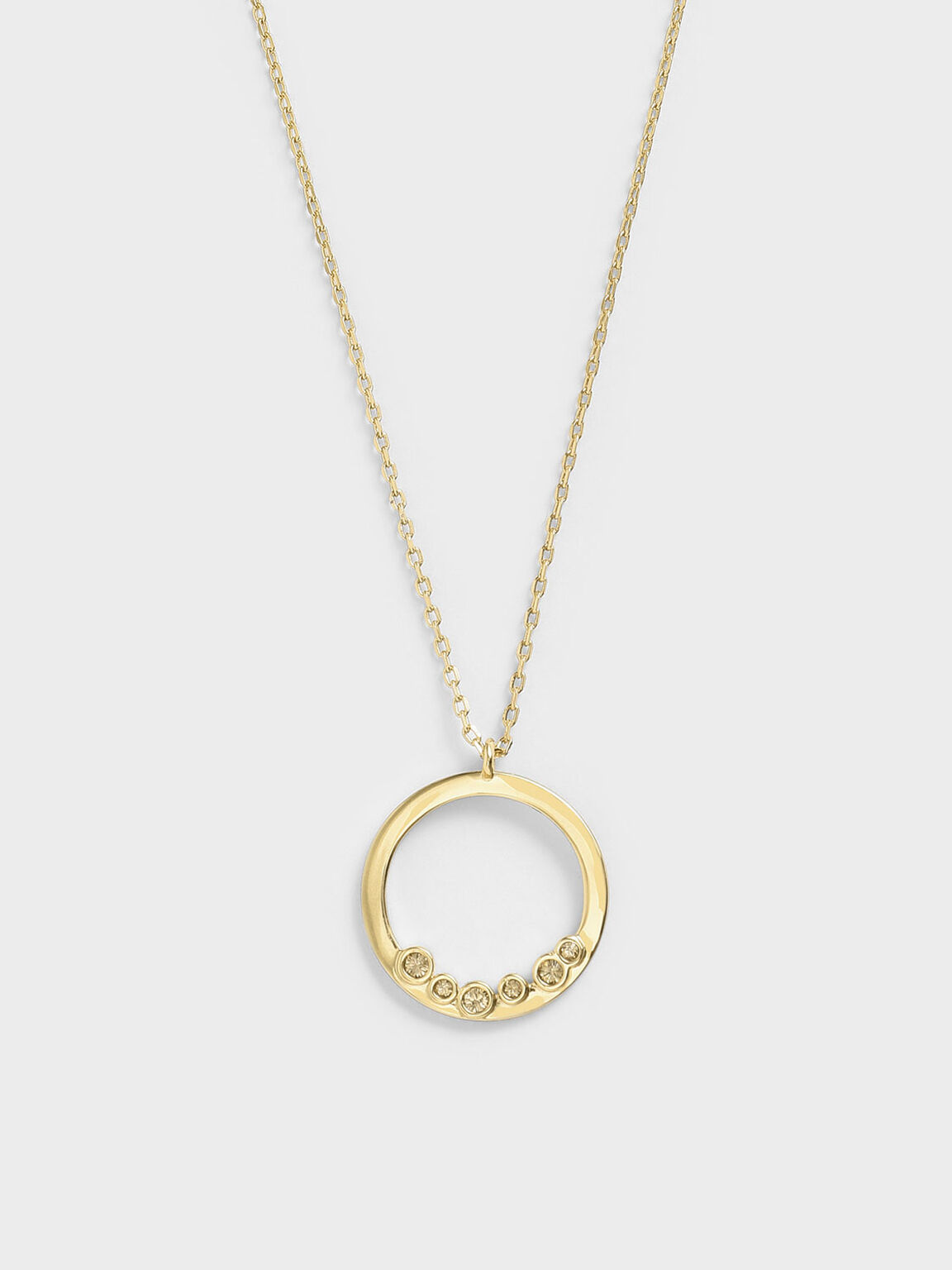 Swarovski® Crystal Studded Pendant Necklace, Gold, hi-res